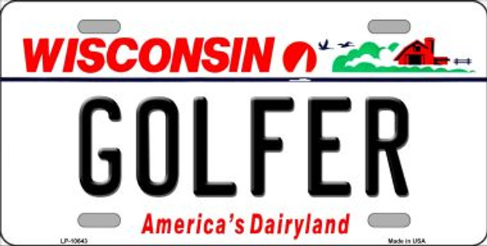 Golfer Wisconsin Background Wholesale Metal Novelty License Plate
