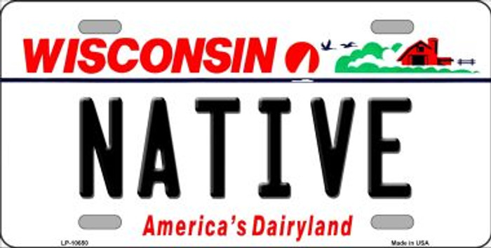 Native Wisconsin Background Wholesale Metal Novelty License Plate