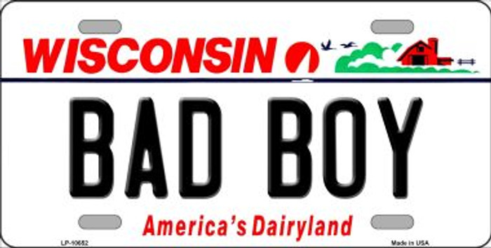 Bad Boy Wisconsin Background Wholesale Metal Novelty License Plate