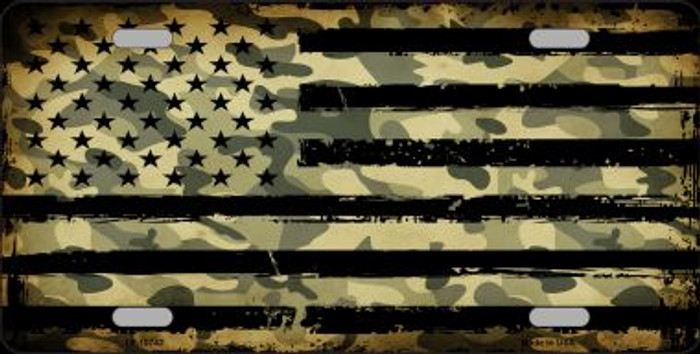 Camo American Flag Novelty Wholesale Metal License Plate