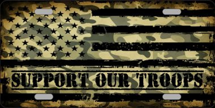 Camo American Flag Support Troops Novelty Wholesale Metal License Plate