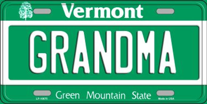 Grandma Vermont Background Wholesale Metal Novelty License Plate