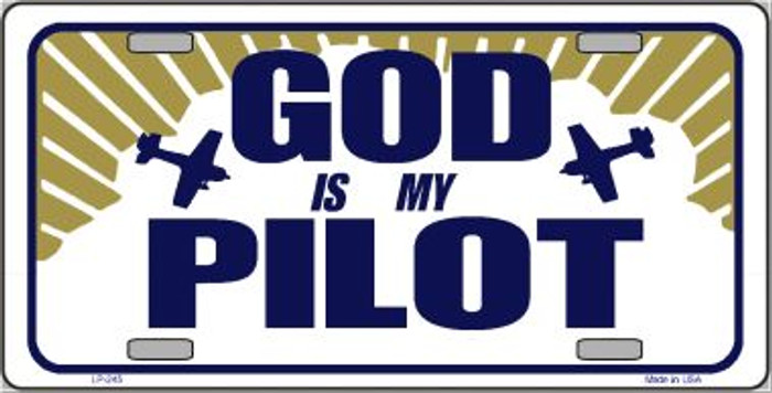God Is My Pilot Wholesale Metal Vanity Novelty License Plate LP-245