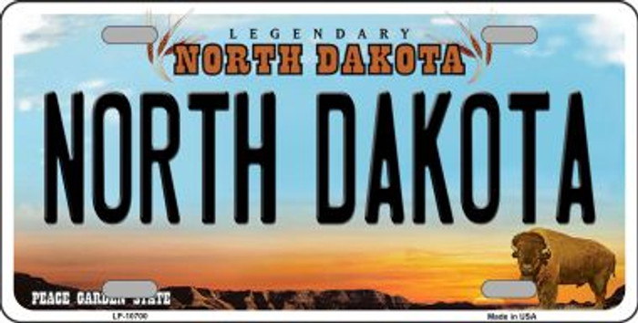 North Dakota Background Wholesale Metal Novelty License Plate
