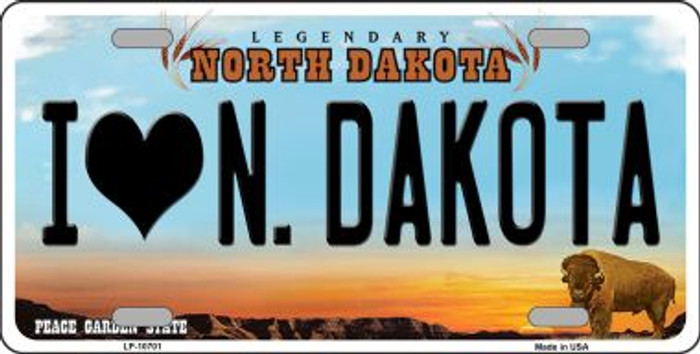 I Love North Dakota Background Wholesale Metal Novelty License Plate