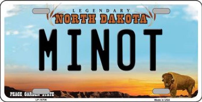 Minot North Dakota Background Wholesale Metal Novelty License Plate
