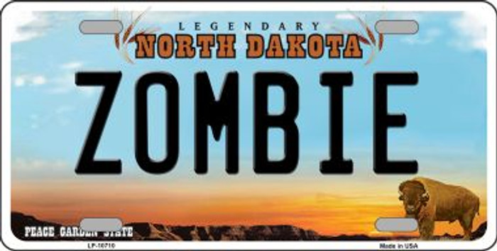 Zombie North Dakota Background Wholesale Metal Novelty License Plate