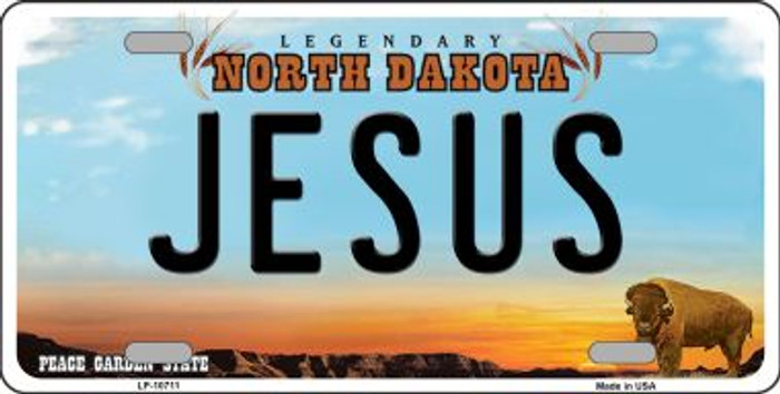 Jesus North Dakota Background Wholesale Metal Novelty License Plate
