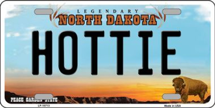Hottie North Dakota Background Wholesale Metal Novelty License Plate