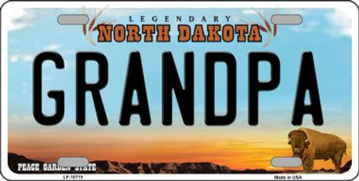 Grandpa North Dakota Background Wholesale Metal Novelty License Plate