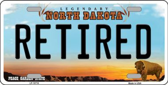 Retired North Dakota Background Wholesale Metal Novelty License Plate