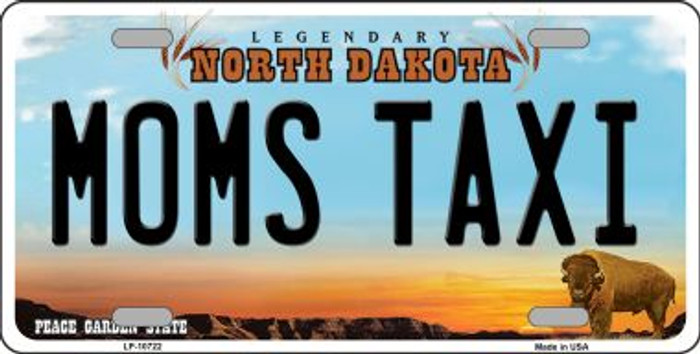 Moms Taxi North Dakota Background Wholesale Metal Novelty License Plate