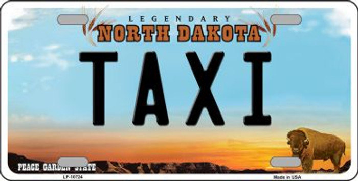 Taxi North Dakota Background Wholesale Metal Novelty License Plate