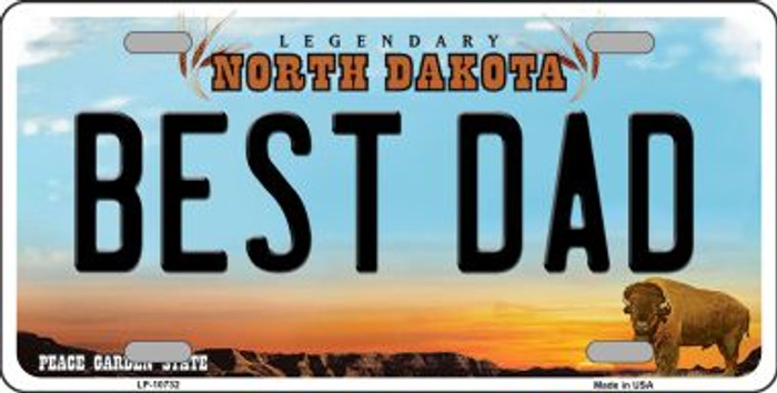 Best Dad North Dakota Background Wholesale Metal Novelty License Plate