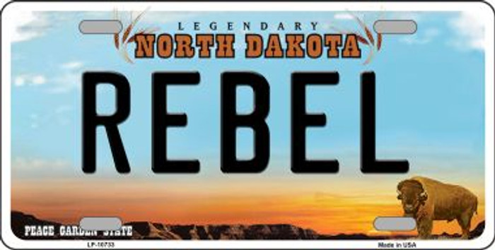 Rebel North Dakota Background Wholesale Metal Novelty License Plate