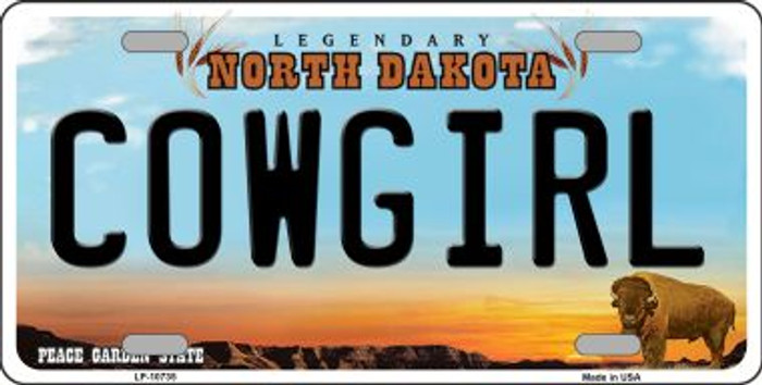 Cowgirl North Dakota Background Wholesale Metal Novelty License Plate