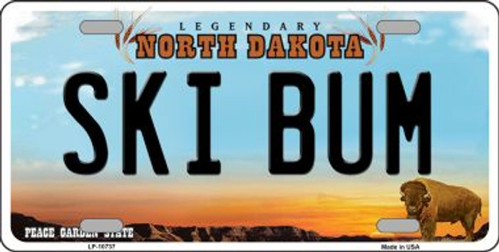 Ski Bum North Dakota Background Wholesale Metal Novelty License Plate