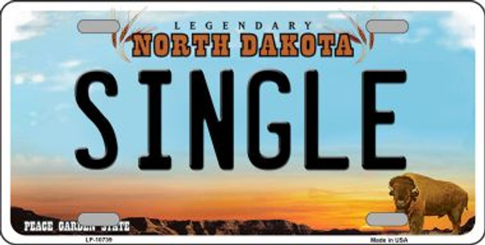 Single North Dakota Background Wholesale Metal Novelty License Plate