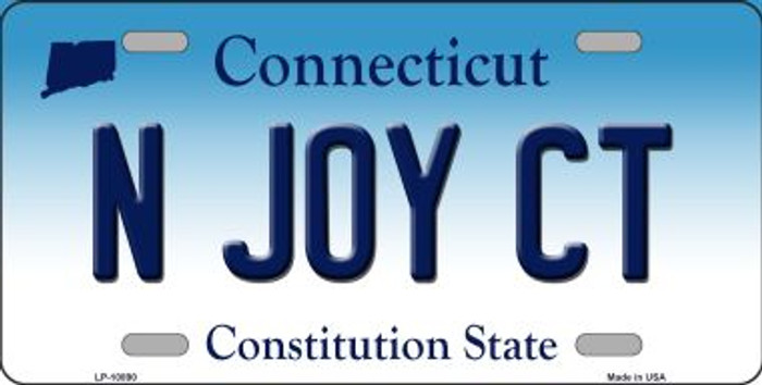 N Joy CT Connecticut Background Wholesale Metal Novelty License Plate