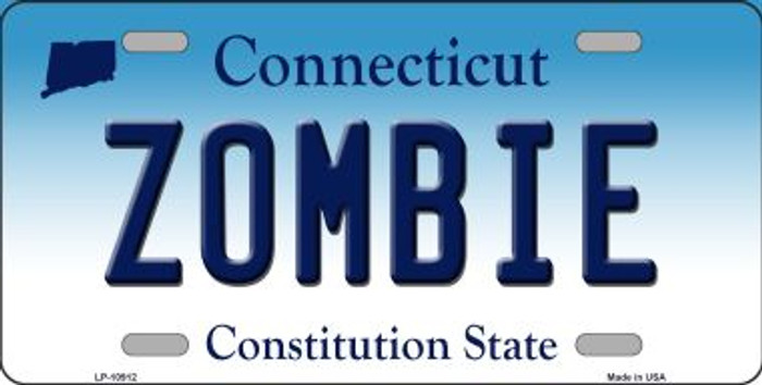 Zombie Connecticut Background Wholesale Metal Novelty License Plate