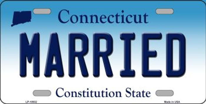 Married Connecticut Background Wholesale Metal Novelty License Plate
