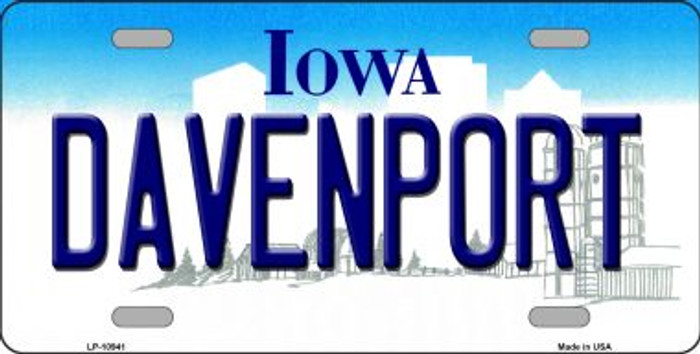 Davenport Iowa Background Wholesale Metal Novelty License Plate