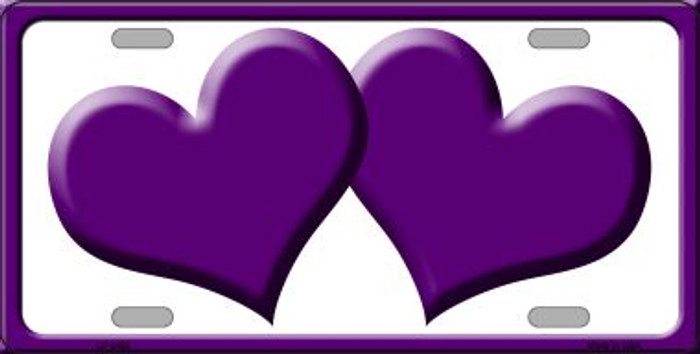 Solid Purple Centered Hearts With White Background Wholesale Novelty License Plate LP-2463