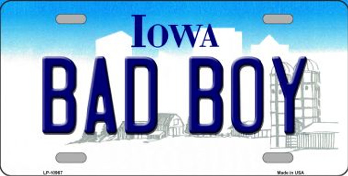 Bad Boy Iowa Background Wholesale Metal Novelty License Plate