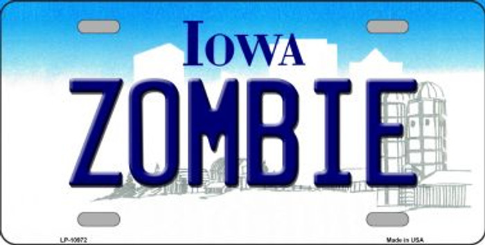 Zombie Iowa Background Wholesale Metal Novelty License Plate