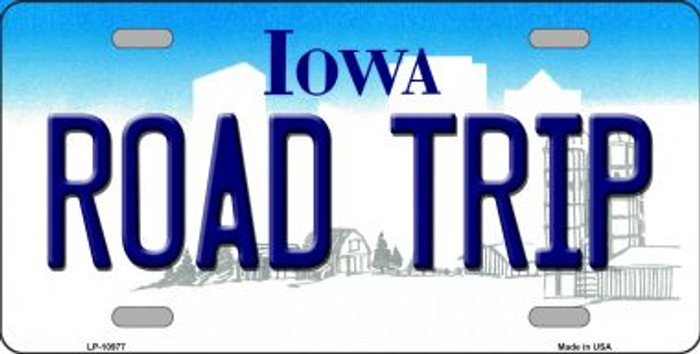 Road Trip Iowa Background Wholesale Metal Novelty License Plate