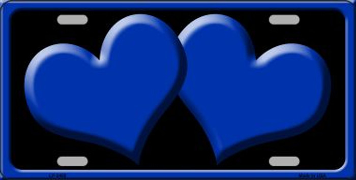 Solid Blue Centered Hearts With Black Background Wholesale Novelty License Plate LP-2468