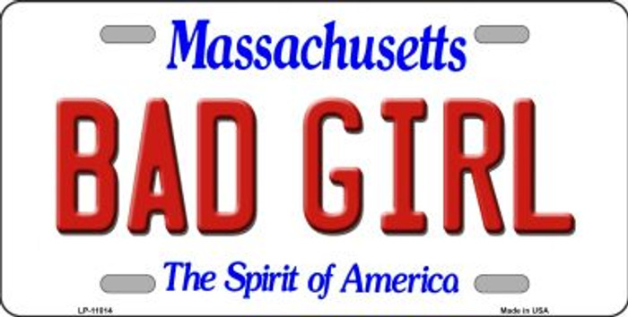 Bad Girl Massachusetts Background Wholesale Metal Novelty License Plate
