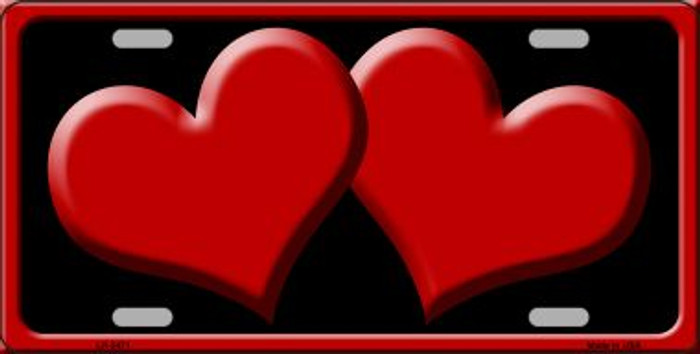 Solid Red Centered Hearts With Black Background Wholesale Novelty License Plate