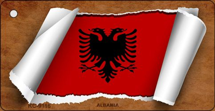 Albania Flag Scroll Wholesale Novelty Key Chain