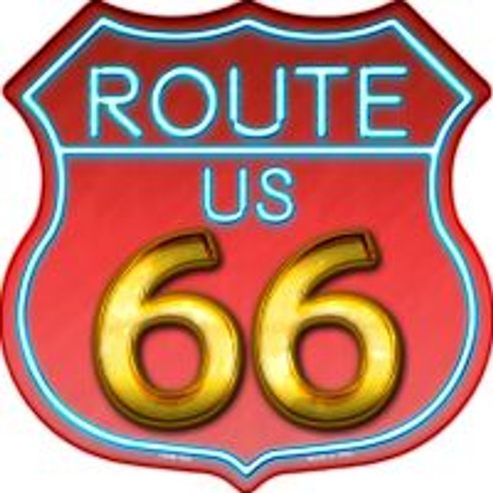 Route 66 Neon Highway Shield Wholesale Novelty Metal Magnet