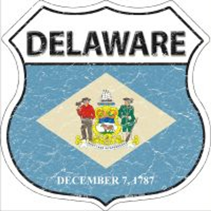 Delaware State Flag Highway Shield Novelty Metal Magnet