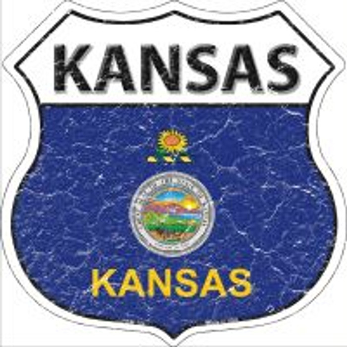 Kansas State Flag Highway Shield Novelty Metal Magnet