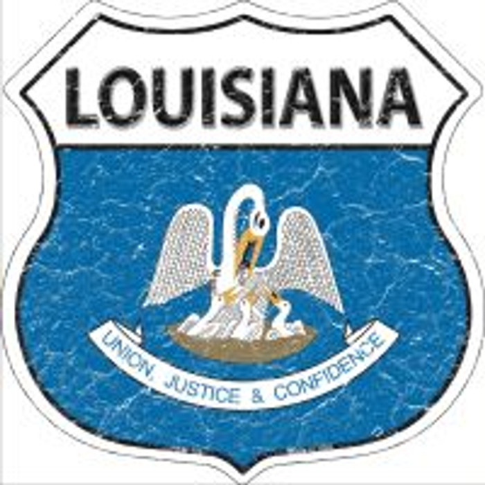 Louisiana State Flag Highway Shield Novelty Metal Magnet