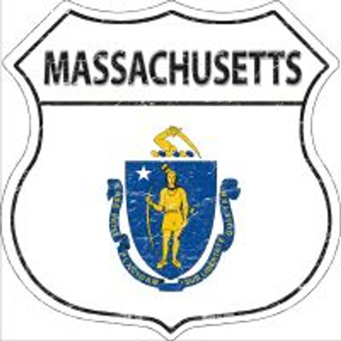 Massachusetts State Flag Highway Shield Novelty Metal Magnet