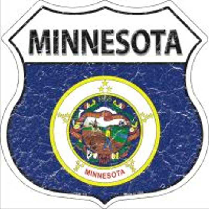 Minnesota State Flag Highway Shield Novelty Metal Magnet