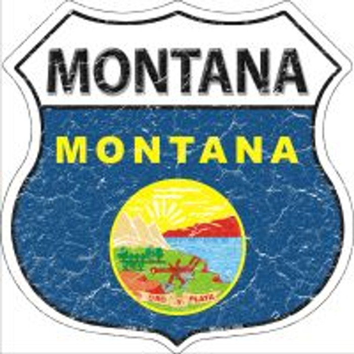 Montana State Flag Highway Shield Novelty Metal Magnet