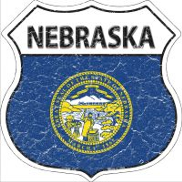 Nebraska State Flag Highway Shield Novelty Metal Magnet