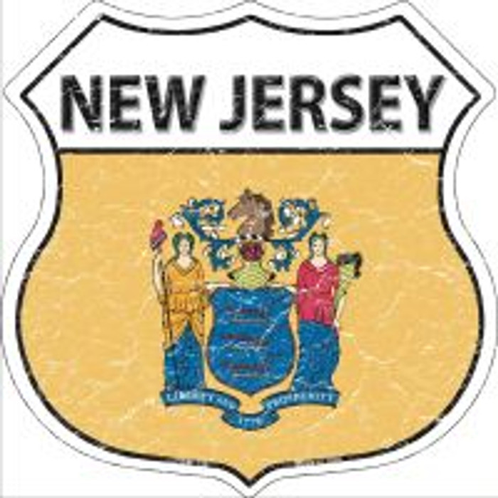 New Jersey State Flag Highway Shield Novelty Metal Magnet