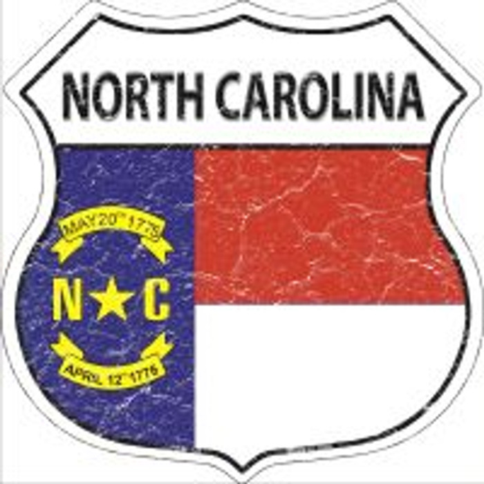 North Carolina State Flag Highway Shield Novelty Metal Magnet