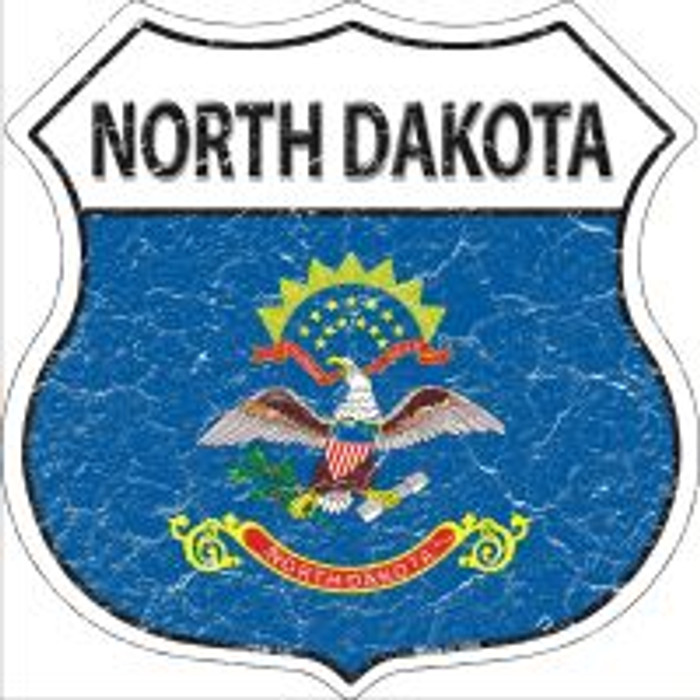 North Dakota State Flag Highway Shield Novelty Metal Magnet