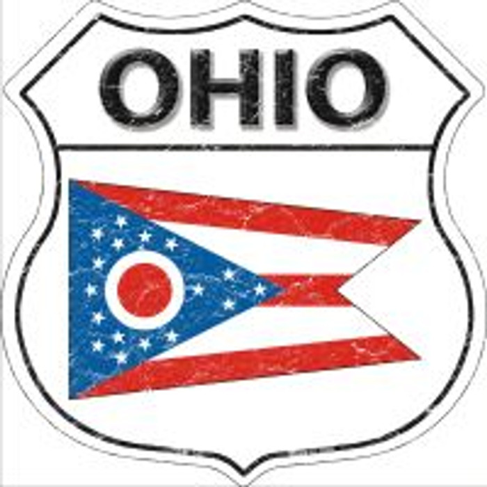Ohio State Flag Highway Shield Novelty Metal Magnet