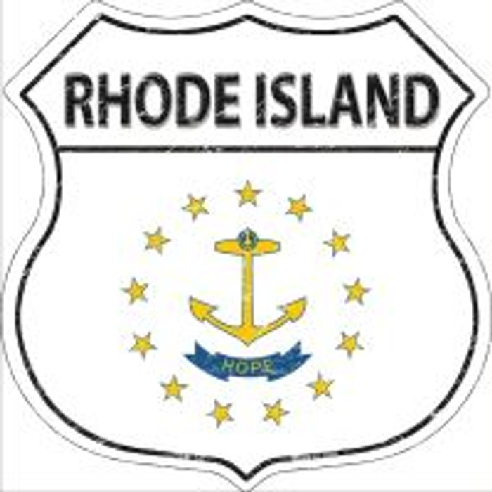 Rhode Island State Flag Highway Shield Novelty Metal Magnet