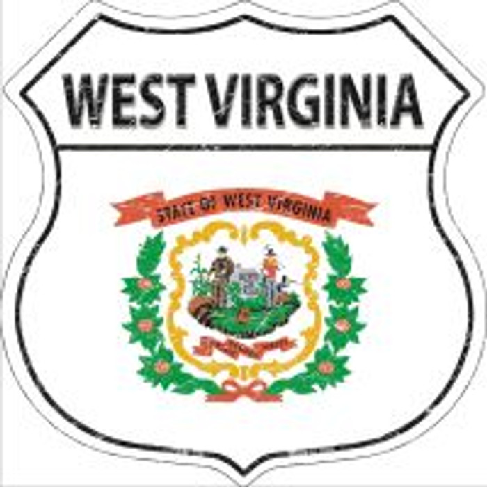 West Virginia State Flag Highway Shield Novelty Metal Magnet