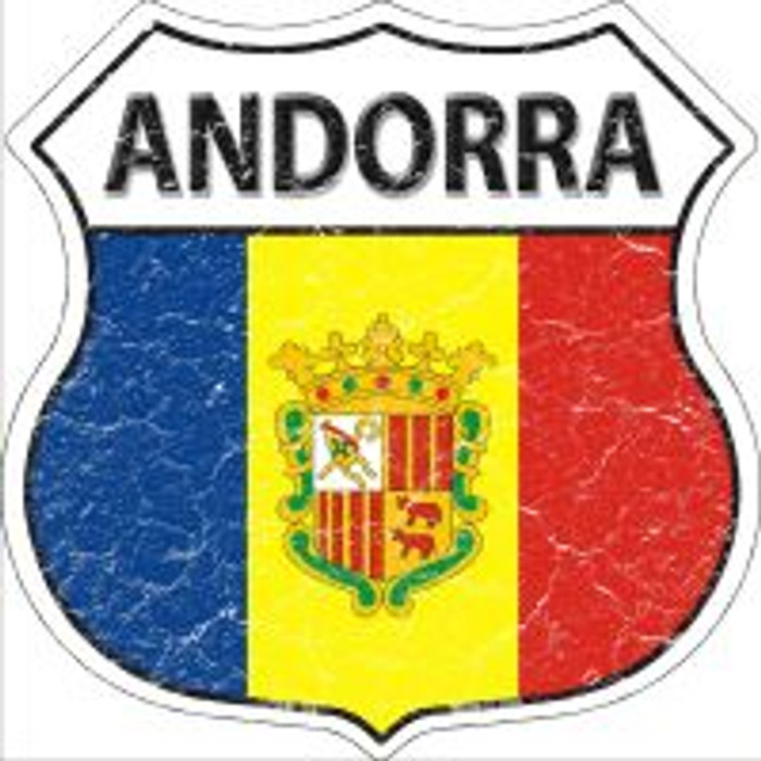 Andorra Flag Highway Shield Novelty Metal Magnet