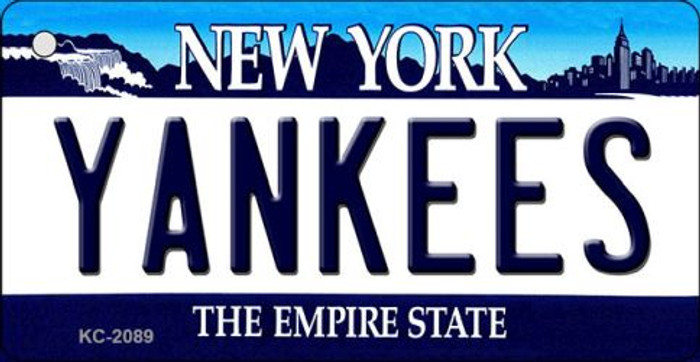 Yankees New York State Background Wholesale Novelty Metal Key Chain KC-2089